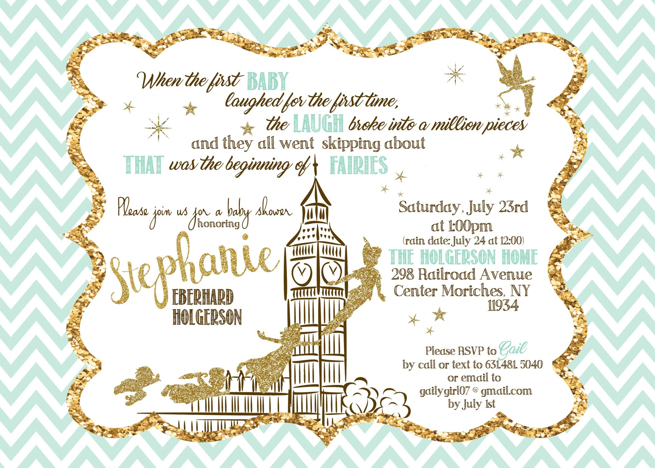 Peter Pan themed baby shower invitation- mint & gold, glitter ...