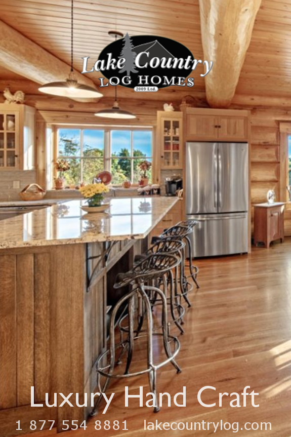 Kitchen in handcrafted Western Red Cedar Log Home | Rustic ...
