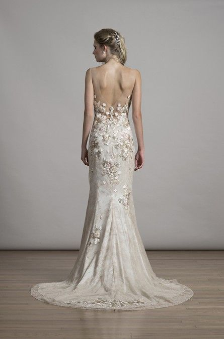 Liancarlo Style 6881 Floral Embroidery On Chantilly Sheath With Illusion Neckline And Back In Blush Bride Wedding Gown Low Wedding Dresses Dresses Bridal