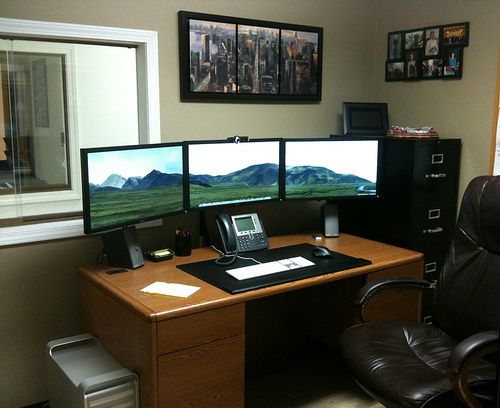 Cool Agreeable Home Office Setup Ideas With White Finished Top Office  Within Two Desk Setup