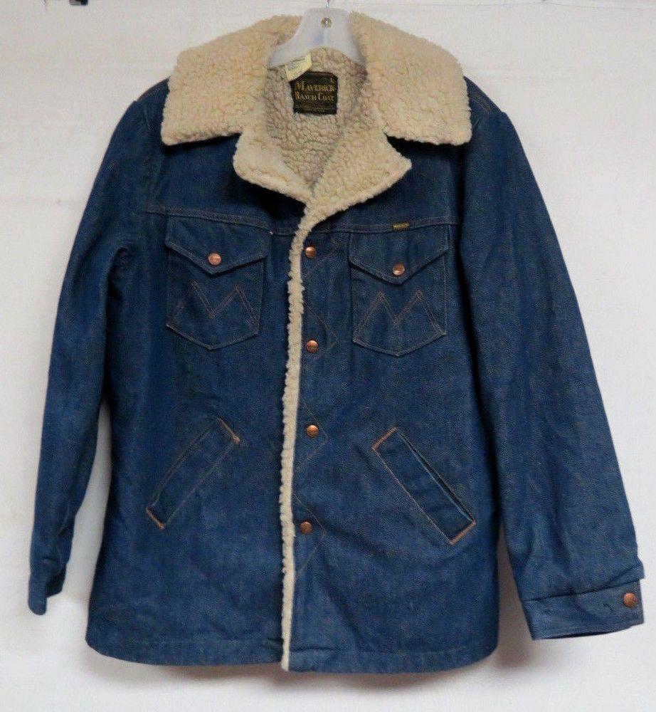 Mens Vintage Wrangler Denim Jacket Maverick Ranch Coat Blue Sherpa Lined Large Vintage Outfits Clothes Mens Fashion Vintage [ 1000 x 922 Pixel ]
