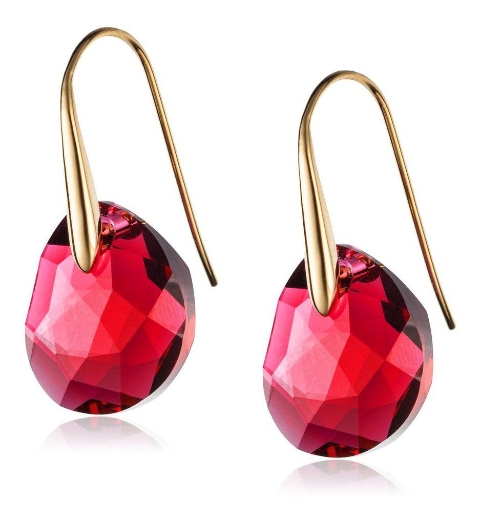 f252535a2 Swarovski Red Crystal Jewelry GALET Pierced Earrings Yellow Gold #5110575