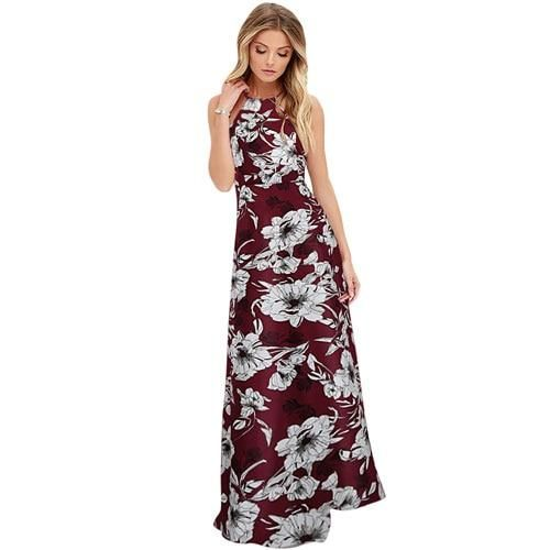 Women Summer Beach Boho Floral Sleeveless Long Dress Holiday V Neck Maxi Dresses