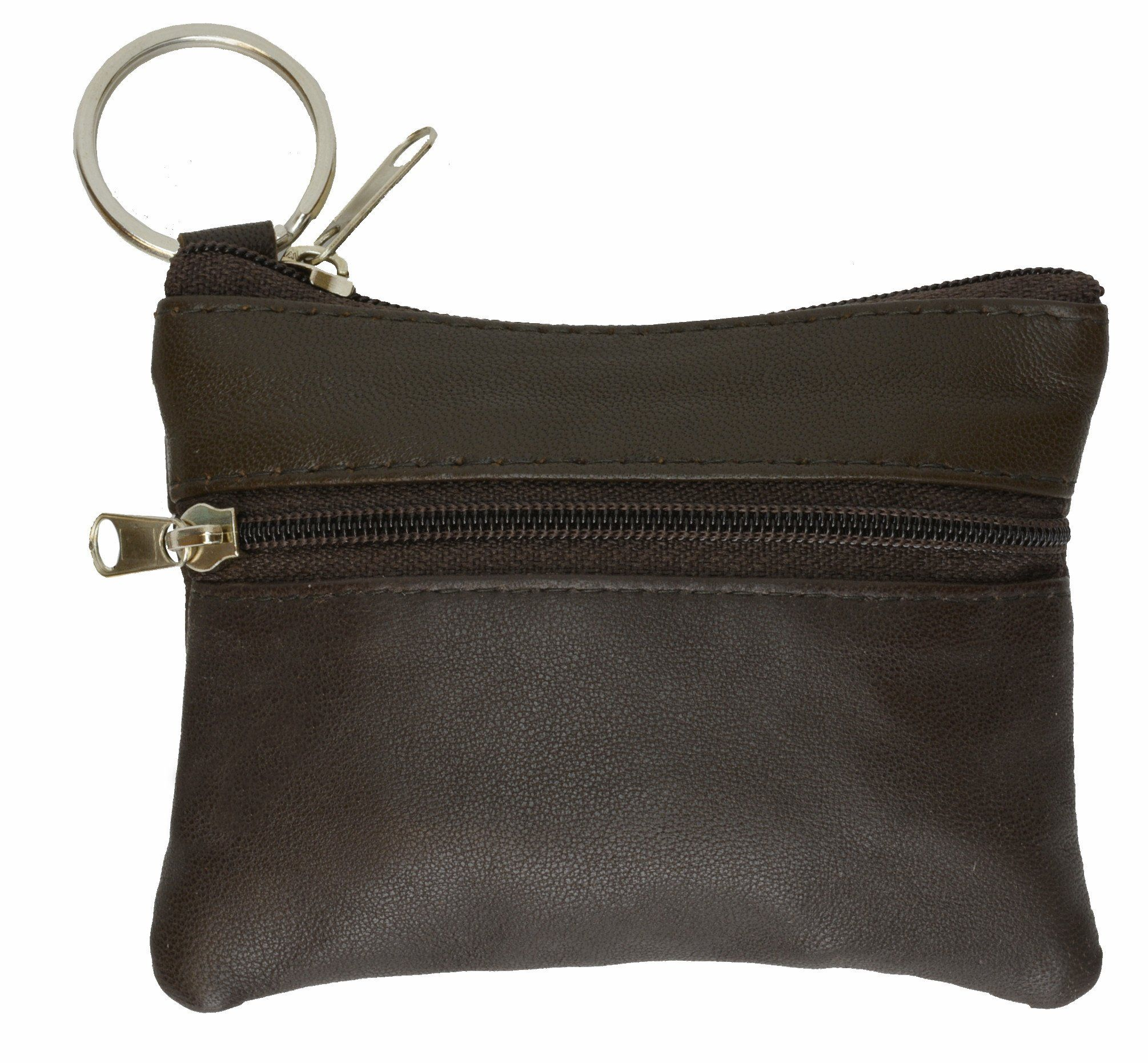 Black Leather Coin Purse Mini Wallet Key Pouch 2 Zippered Sections ID Slot Black