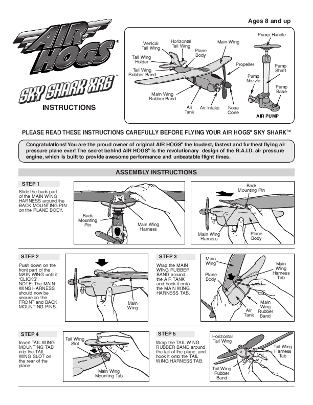 Air Hogs  Sky Shark Xrg  Instructional Diagrams