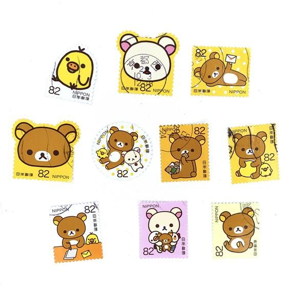 10 x Rilakkuma Japanese postage stamps, all used and off paper.You will receive the 10 stamp designs pictured. There are 10 different designs as you can see from the photo. Cancellations/ postmarks may vary as I have several sets of these stamps.These stamps have been taken off paper (by me, so you can be assured they are genuine). All have been checked to ensure they are complete i.e. no edges cut off. More Aki Kondo, Japanese and Disney stamps are available in my shop. If you are looking for m