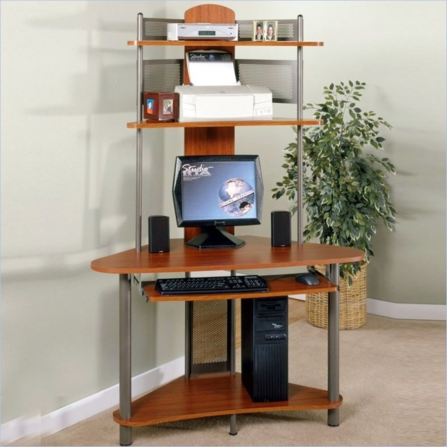 Compact corner computer desk with hutch devintavern