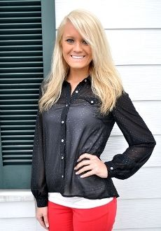 Black Blouse with Gold Polka Dots www.foxyflamingoboutique.com