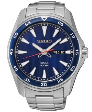 Seiko Men S Solar Sport Stainless Steel Bracelet Watch 43mm