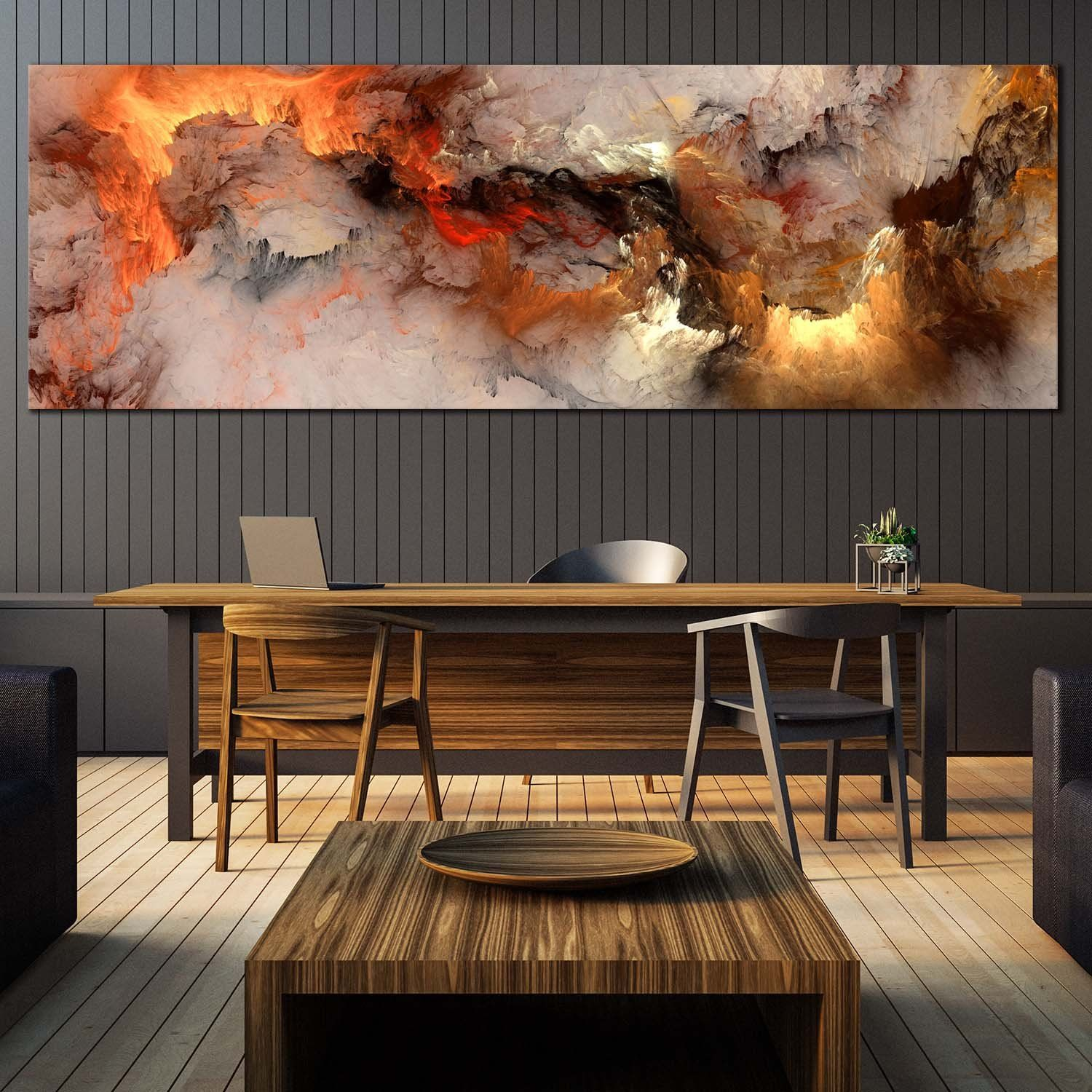 Fractal Abstract Canvas Wall Art Orange White Smoke Texture