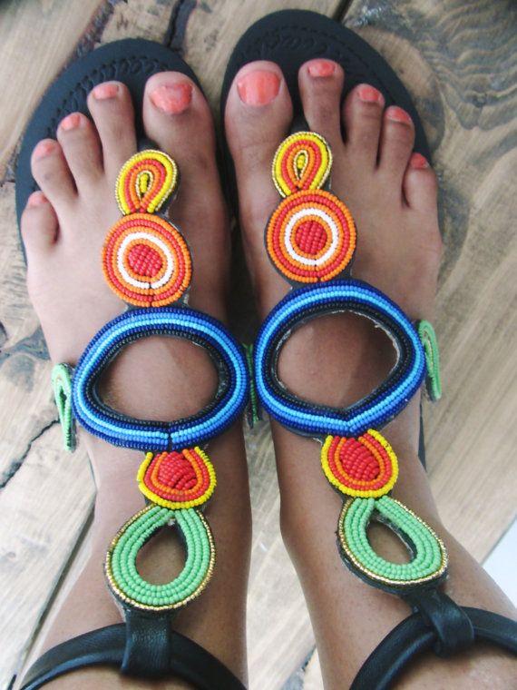 African Leather Handmade Maasai Beaded Sandals / Made In Kenya