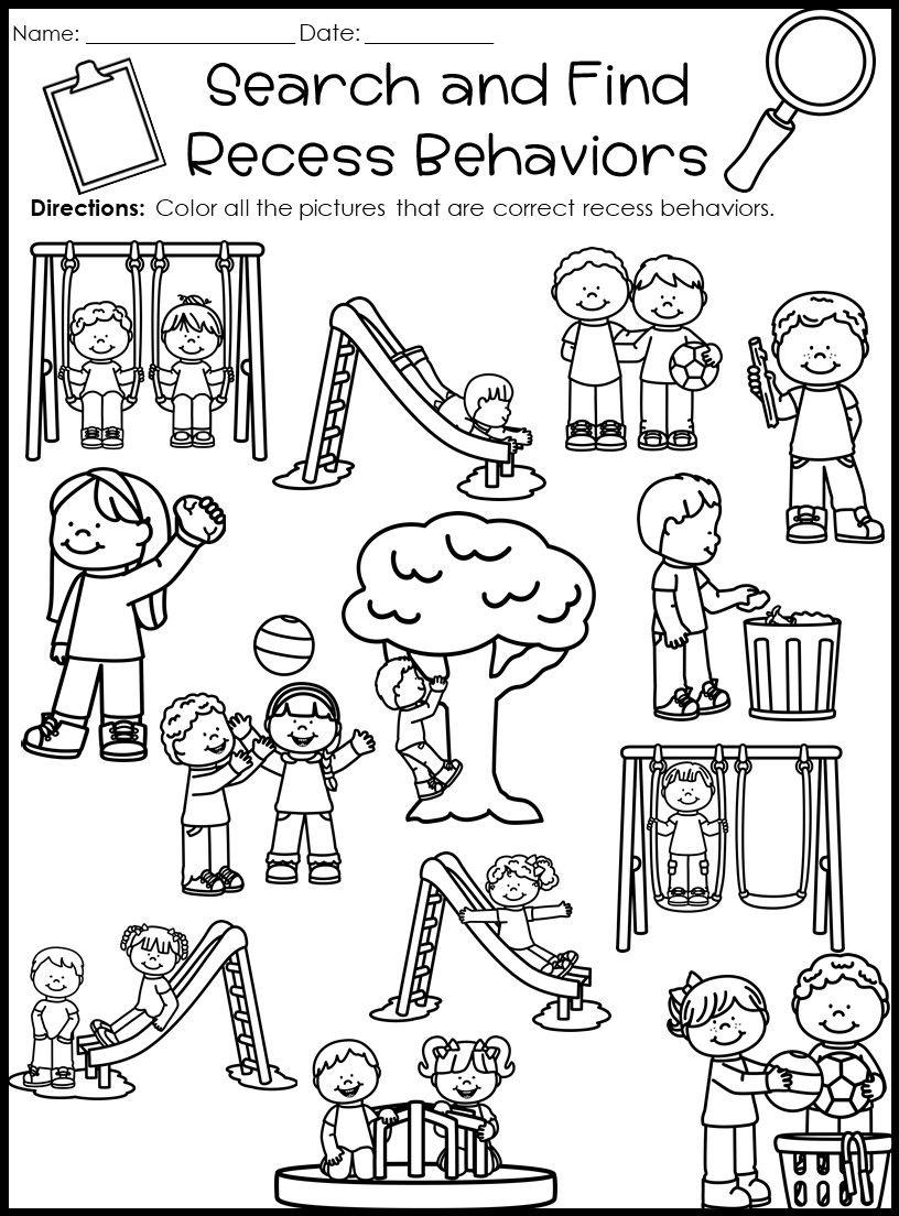 Behavior Activities Bundle Back To School Kindergarten Worksheets Kindergarten Classroom Rules Preschool Behavior [ 1104 x 816 Pixel ]