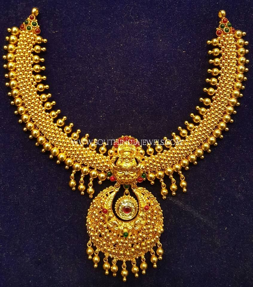 New Antique Necklace Model From S.K Jewels | Antique necklace ...