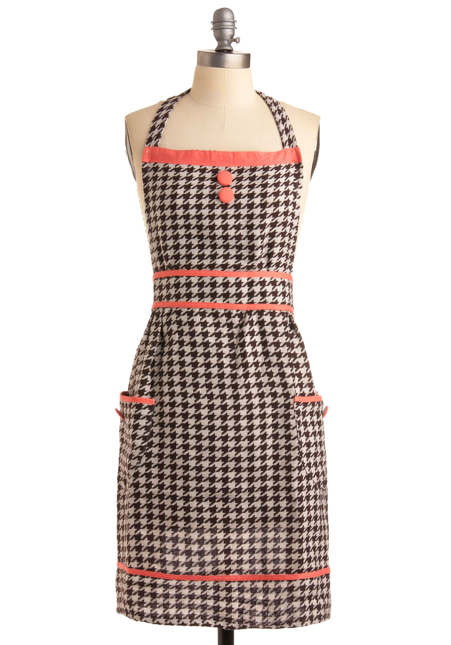 To the Houndstooth Apron - Black, White, Pink, Herringbone, Casual, Vintage Inspired, Spring, Summer, Fall, Winter