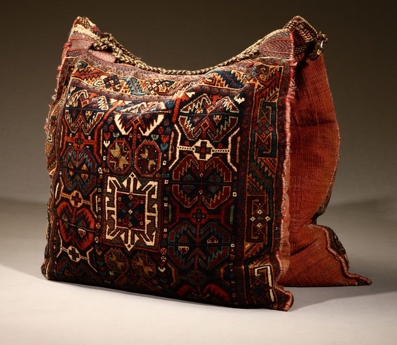 Lot# 1083 A Persian Woven Woolen Camel Bag. Of Typical