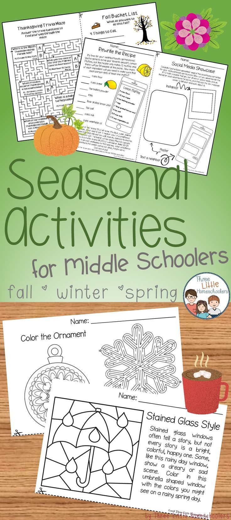 Seasonal and Holiday Activities for Older Kids - Fall Winter Spring ...