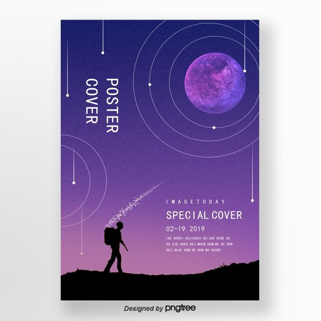 Purple Creative Gradual Change Moon Night Character Round Cover Poster Design