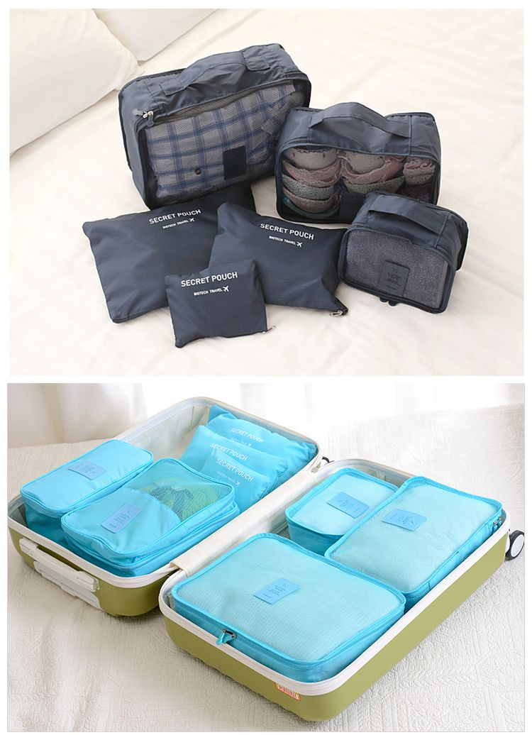 6pcs Travel Storage Bag Luggage Organizer Bags Suitcase Clothes Packing Pouch