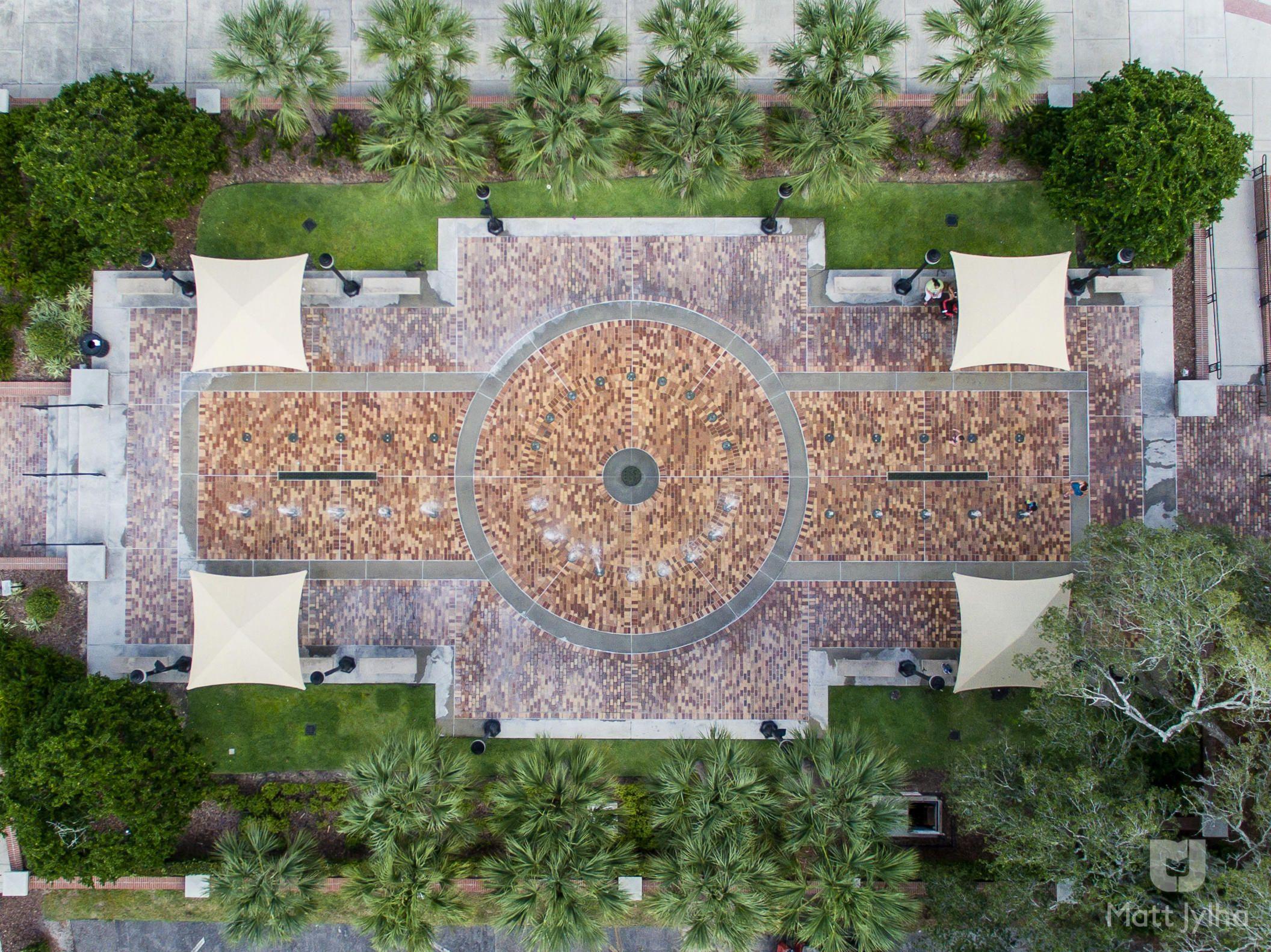 downtown winter garden florida splash pad from 144 feet aerial