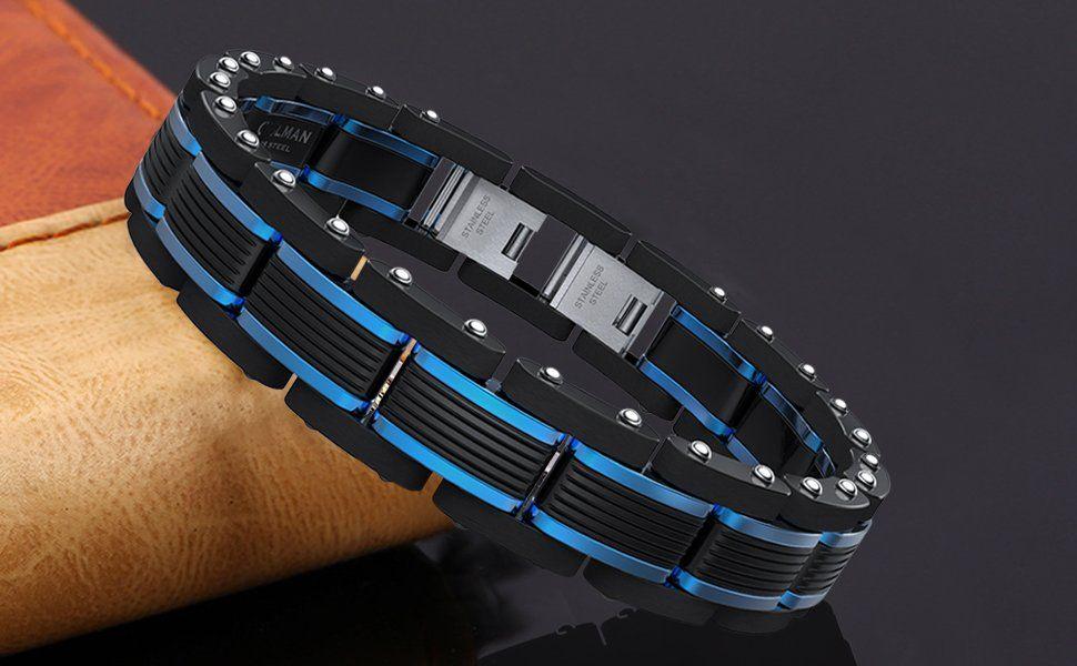 Coolman men bracelets blueblack adjustable