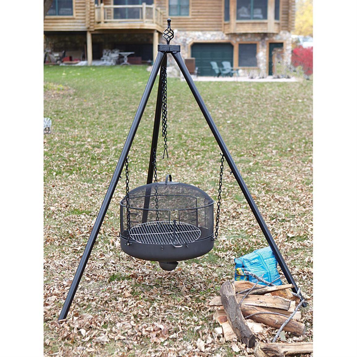 Campfire Tripod /& Fire Disc Set Heavy Duty CAMPING Pro BUSHCRAFT