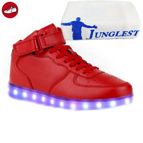 (Present:kleines Handtuch)High Top mit Velcro Rot EU 37, Herren Lackleder Größe 43 Sportschuhe USB für Schuhe High Top Sneaker Leuchtend Unisex-Erwachsene Damen Turnschuhe JUNGLEST® We