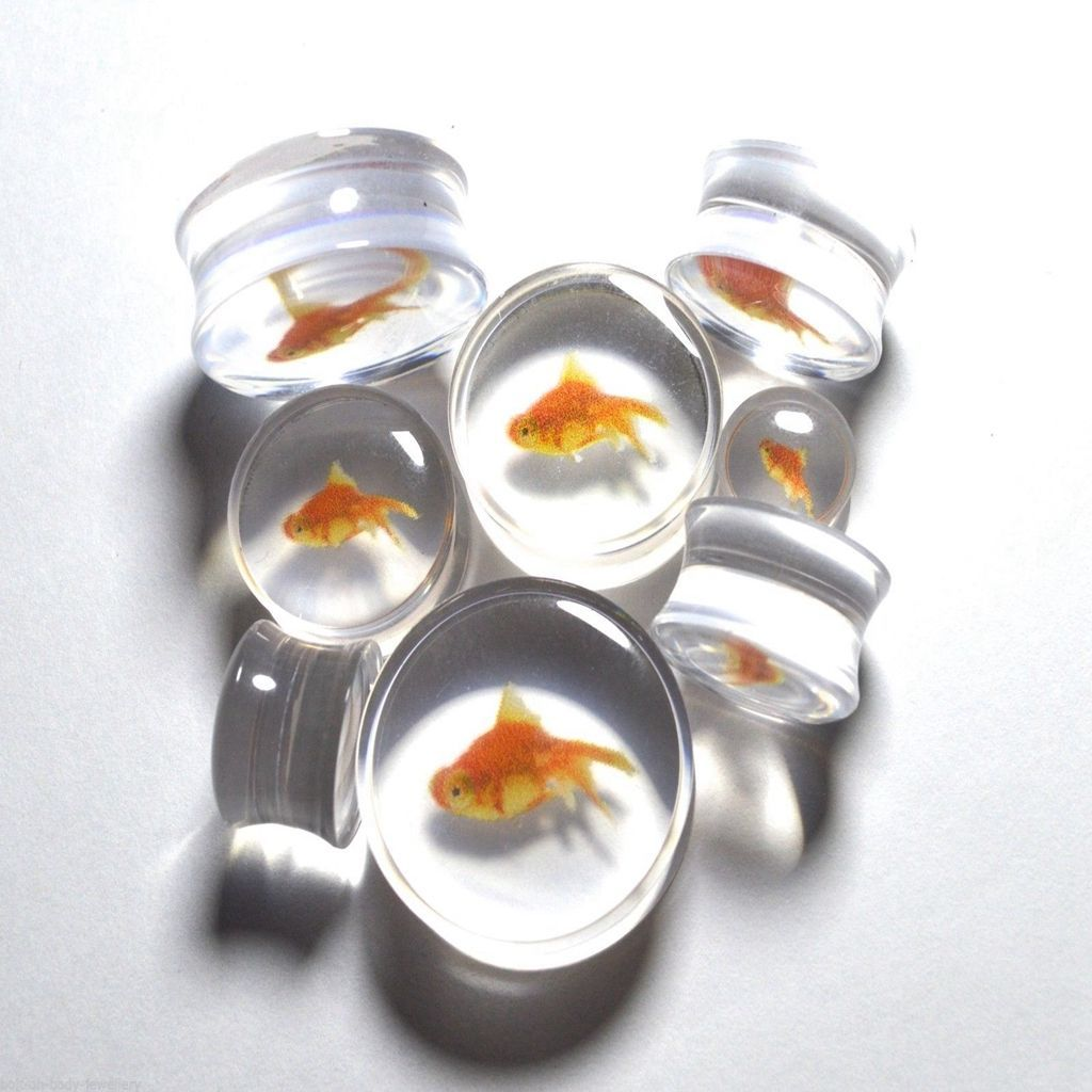 Koi Fish Acrylic Fake Plug with O-Rings Sold as a Pair