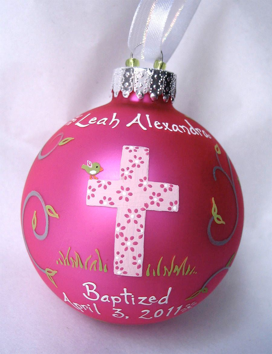 Baptism ornament girl hand painted and personalized