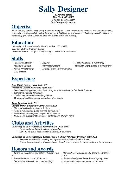 Fashion Model Resume Sample