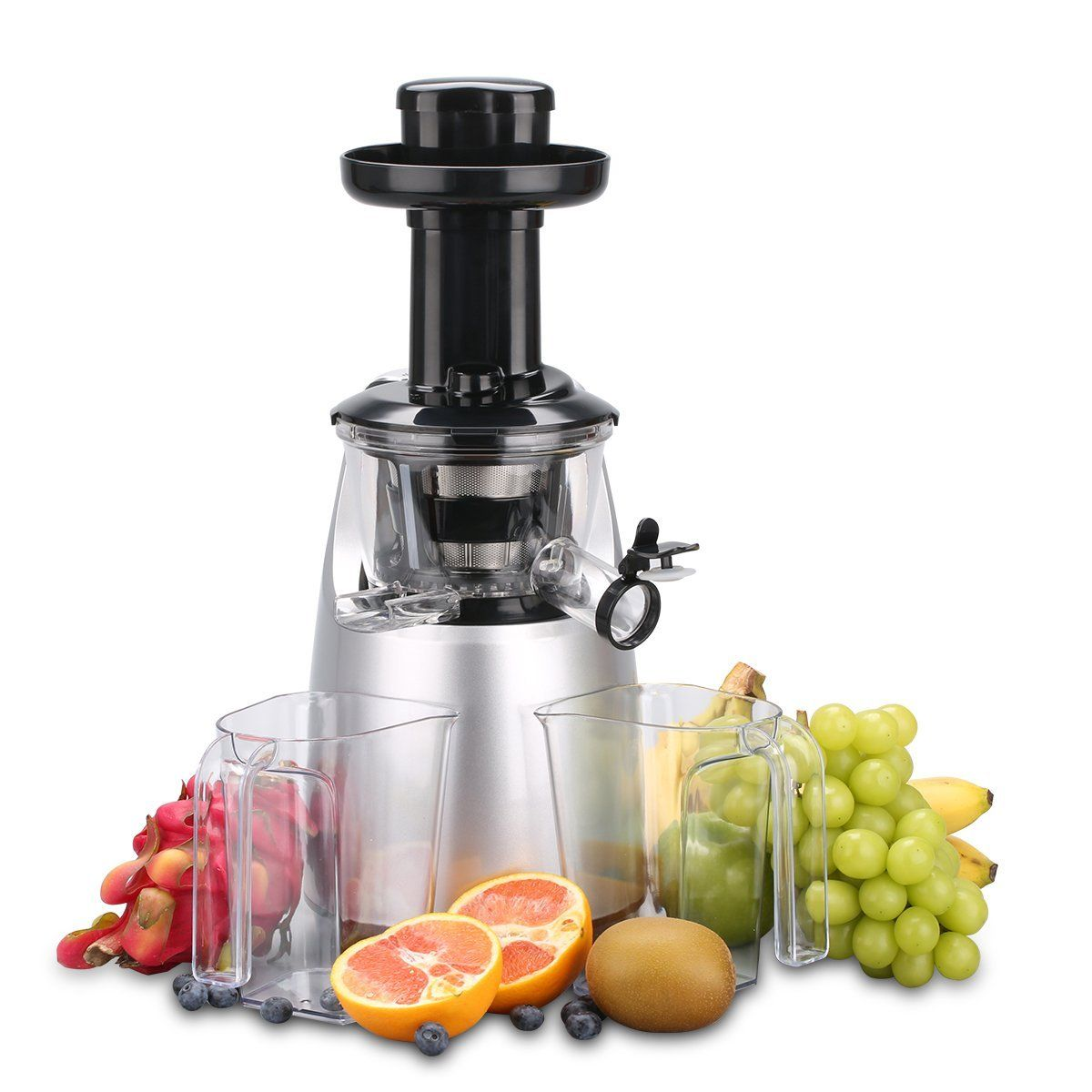 O-Breko Slow Masticating Juicer with 200W 65 RPM DC Motor and Reverse Function, Spraying Silver * Details can be found by clicking on the image.