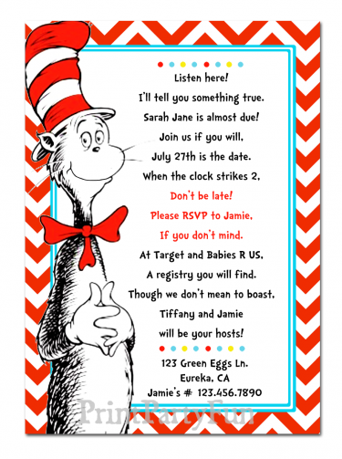 dr seuss cat in the hat baby shower invitation, chevron | babies, Party invitations