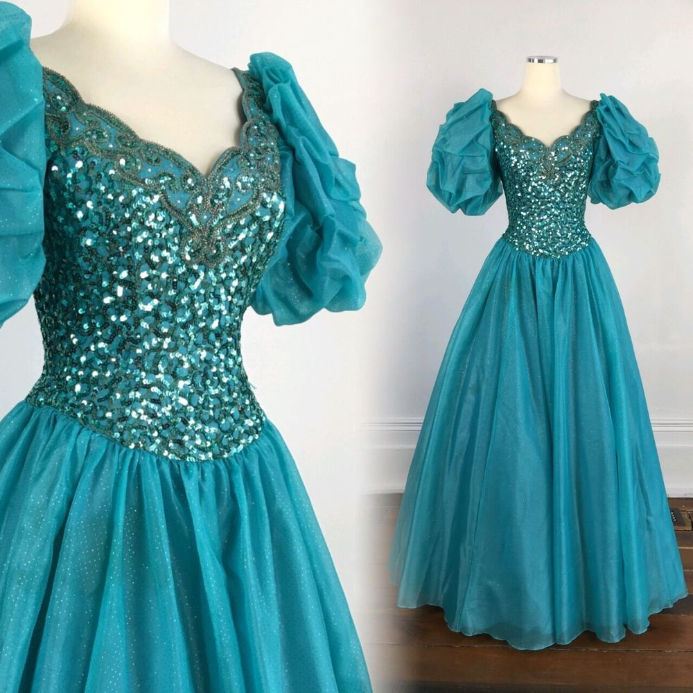 VTG 80s Mike Benet PRINCESS BALL GOWN prom dress sequins beads ...