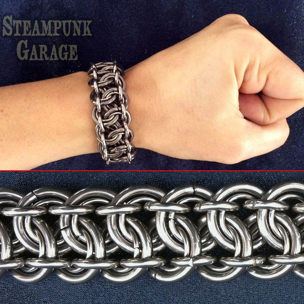 Bracelet Heavy Duty Steel 12 Gauge King 39 S Scale Weave Chainmaille Bracelet Chainmail Jewelry Chains Jewelry