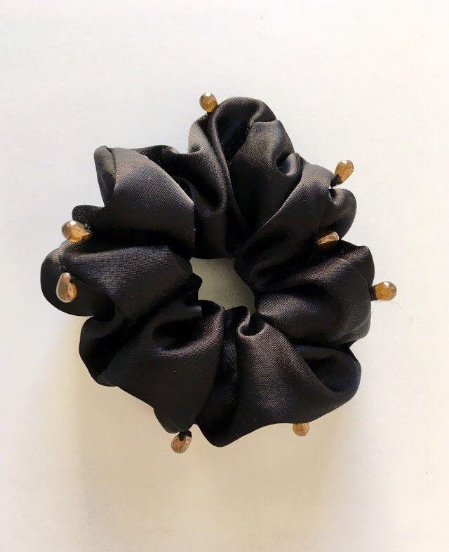 Black satin hair scrunchie with brown glass beads,Tear drop beads,Ponytail holder,Bun holder,Hair Accessory,Hair tie,Beaded Ponytail holder #hairscrunchie