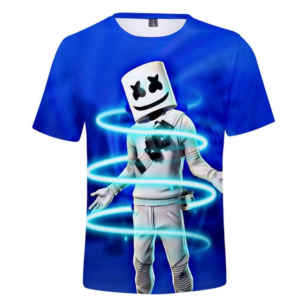 child Kids T-Shirt 3D Print Short Sleeve Tee tops DJ Marshmallow Cartoon