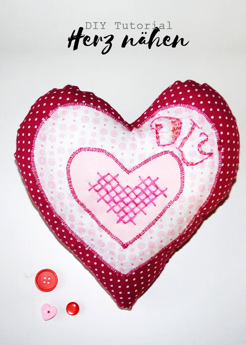 Herz nähen mit 3 Handstickstichen verzieren | Handstickstiche ...