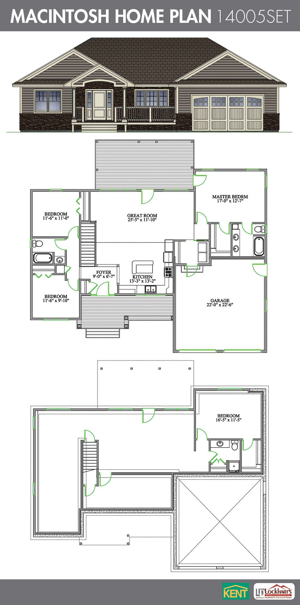 Macintosh 4 bedroom 3 bath 1486 sq ft home plan for Garage basement house plans