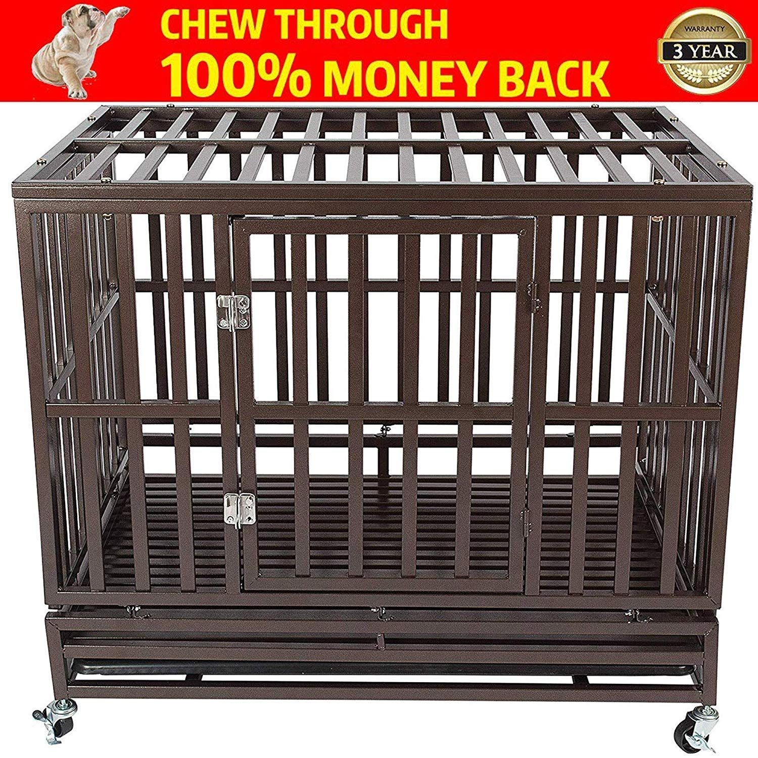 Heavy Duty Dog Crate Cage Kennel Playpen Large Strong Metal for Large Dogs Cats with Two Prevent Escape Lock and Four Lockable Wheels Easy to Assemble
