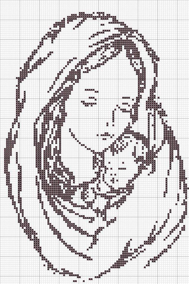 Amato Cross-stitch Mother & Child.. no color chart, just use pattern  WF58