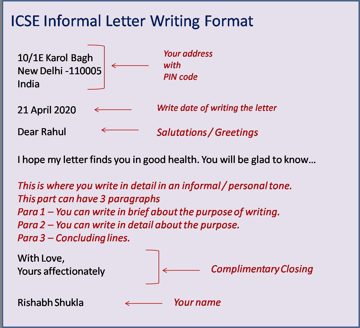ICSE Formal Letter Format in 9  Letter writing format