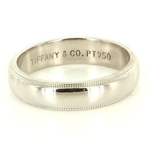 Estate Designer Tiffany Co Platinum Mens Milgrain Wedding Band