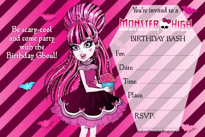 Free printable birthday party invitations for girls monster high monster high invitations bookmarktalkfo Gallery