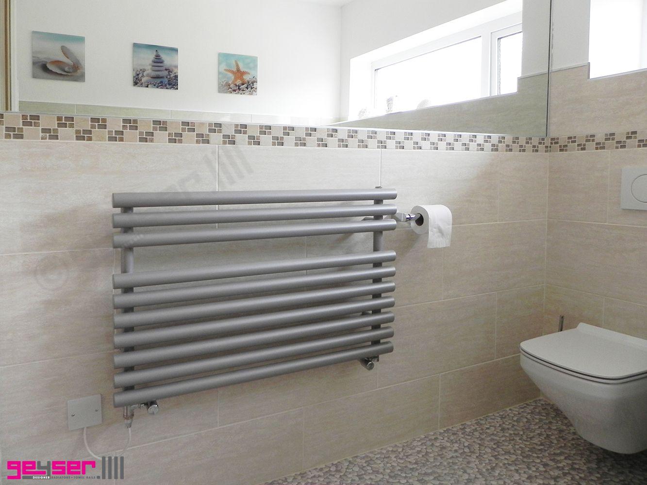 Natasha ladder rail straight modern electric towel radiator in chrome - Geyser Cirtowelo Grigio Pale Grey Heated Towel Rail Electric Towel Rail