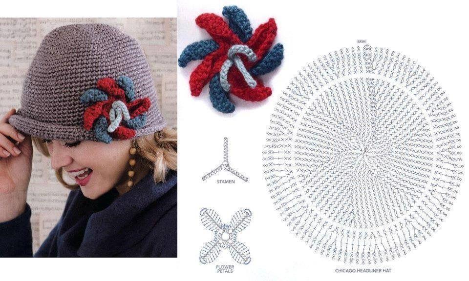 Moderno Sombrero Subordinado Patrón De Crochet Libre Ornamento ...