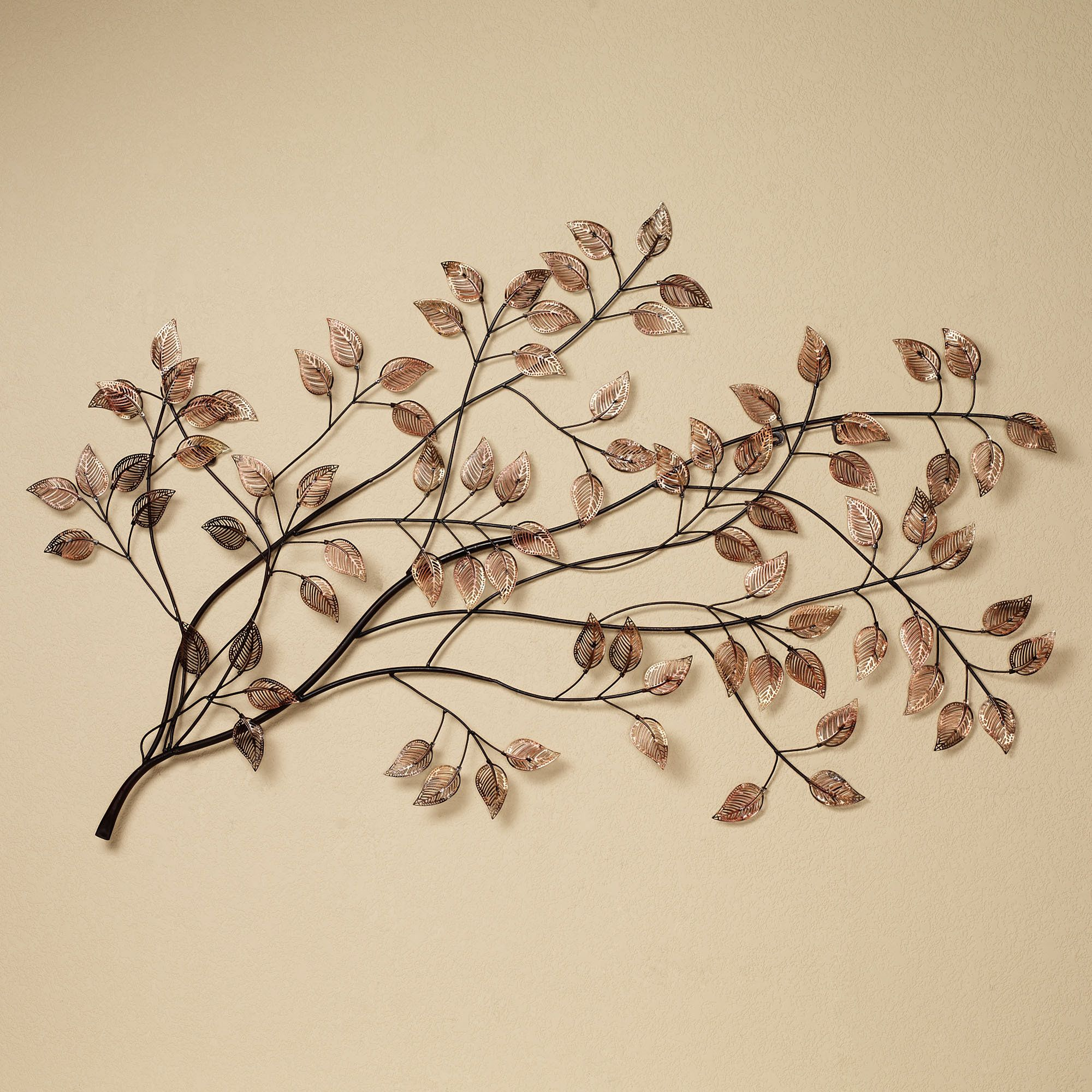 Metal Leaves Wall Decor branches at sunrise leaf metal wall sculpture | metal wall