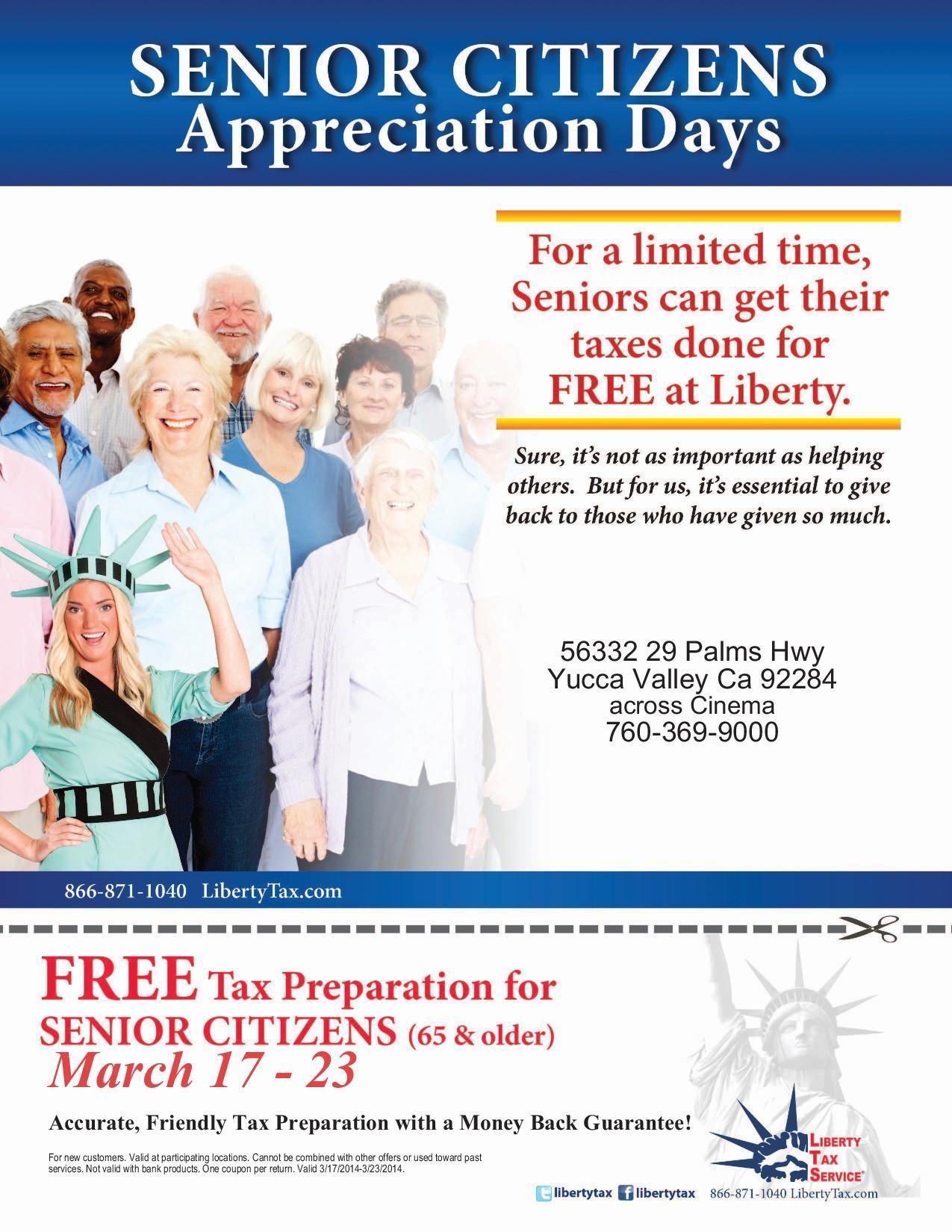 senior citizens: free tax preparation. | appreciation week