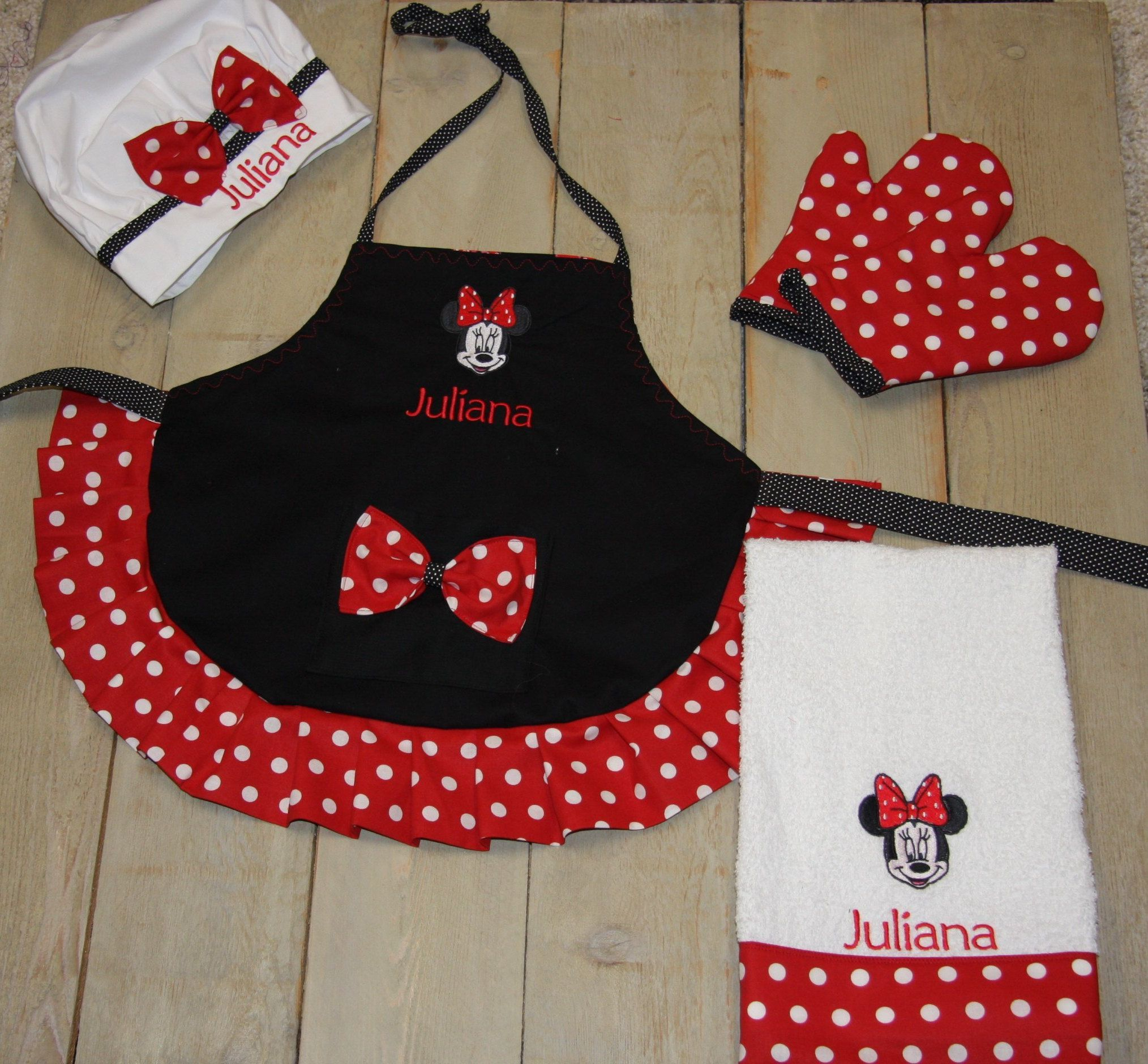 Custom Apron Child Apron Personalized Apron Minnie Apron matching oven mitts Personalized Mickey Mouse Apron birthday gift little girl apron