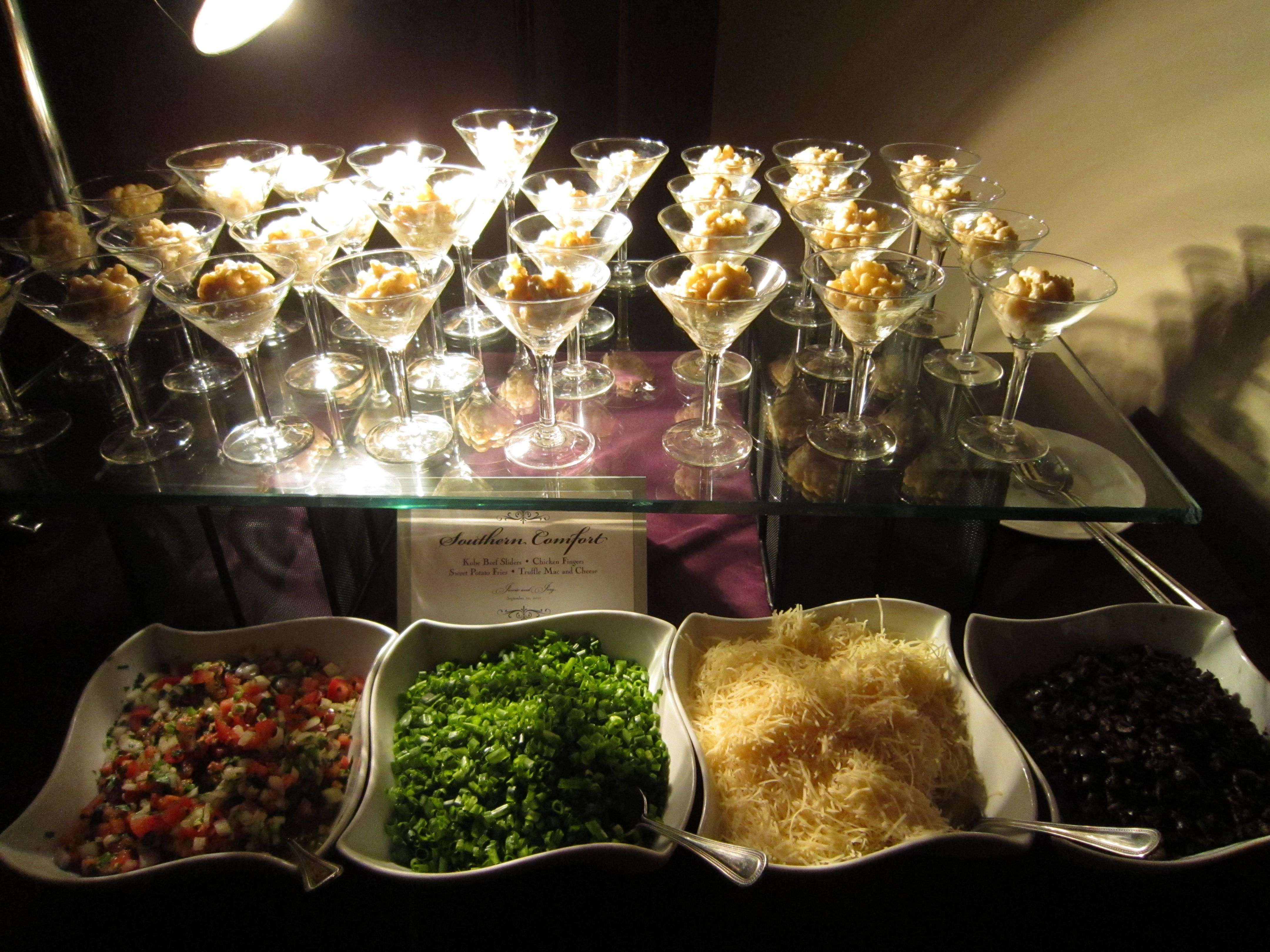 Gourmet macaroni and cheese station stonebriar menu for Food bar ideas for wedding reception