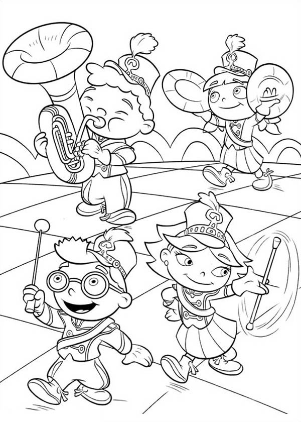 Little Einstein Marching Band Coloring Page Coloring Sky Little Einsteins Music Coloring Disney Coloring Pages