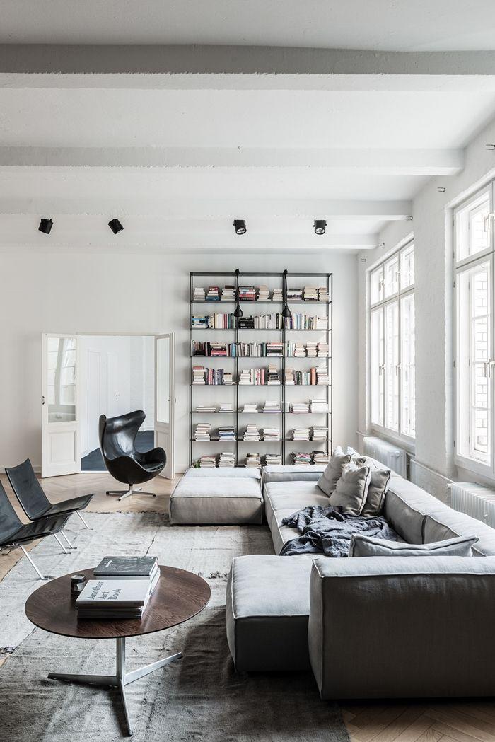 Modern Neutral Living Room | Alquimia Deco: Un Elegante Loft Masculino Con  Estudio De Música